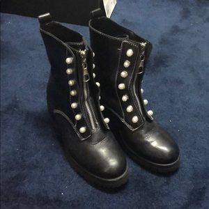 3e892b6da3f Steve Madden women's granite combat pearl booties